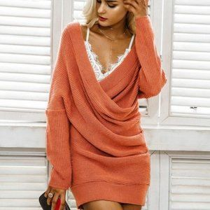 Simplee pumpkin orange ruched sweater dress